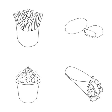 Food, refreshments, snacks and other  icon in outline style.Packaging, paper, potatoes icons in set collection.