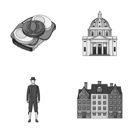 Denmark, history, restaurant, and other web icon in monochrome style.Sandwich, food, bread, icons in set collection.