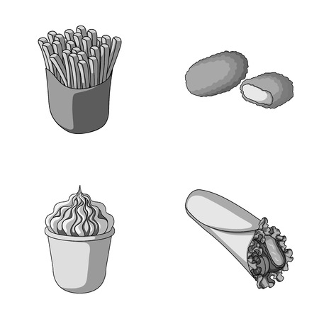 Food, refreshments, snacks and other web icon in monochrome style.Packaging, paper, potatoes icons in set collection.