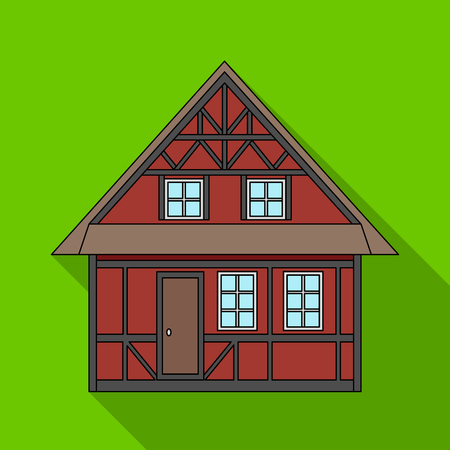 House, single icon in flat style.House, vector symbol stock illustration .