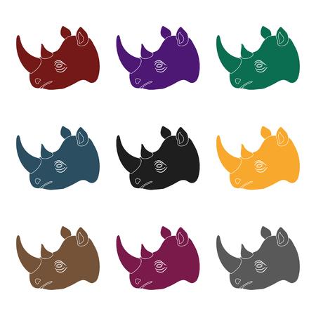Rhinoceros icon in black design.