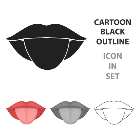 漫画のスタイルの白い背景で隔離の舌アイコン。体シンボル ベクトル図の一部です。