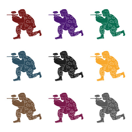 Paintball player icon in black style isolated on white background.