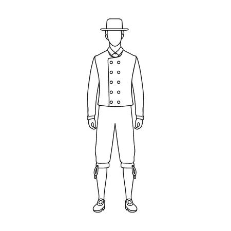 Man, single icon in outline style.Man, vector symbol stock illustration web. Illustration