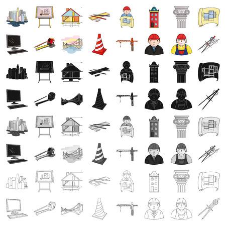 Architect set icons in cartoon style. Big collection of architect vector symbol stock illustration Ilustração