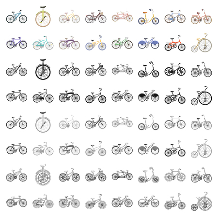 Different models of bicycles. Different bicycle set collection icons in cartoon style vector symbol stock illustration web. Illustration