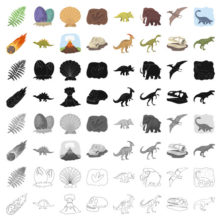 Dinosaurs and prehistoric set icons in cartoon style. Big collection of dinosaurs and prehistoric vector symbol stock illustration