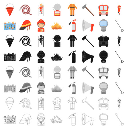 Fire department set icons in cartoon style. Big collection of fire department vector illustration symbol. Illustration