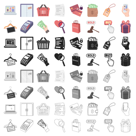 E-commerce set icons in cartoon style. Big collection of e-commerce vector illustration symbol. Illustration