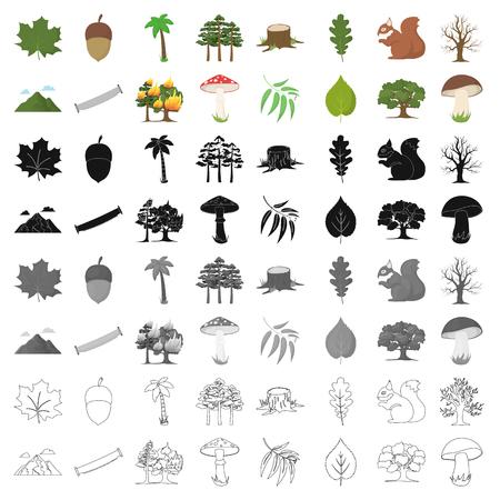 Ícones de setas de floresta em estilo de desenho animado. Coleção grande de símbolo florestal vetor ilustração stock