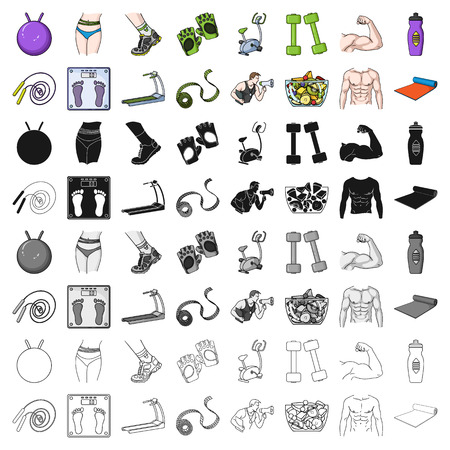 Sport and fitness set icons in cartoon style. Big collection of sport and fitness vector symbol stock illustration