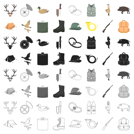 Hunting set icons in cartoon style. Big collection of hunting vector symbol stock illustration