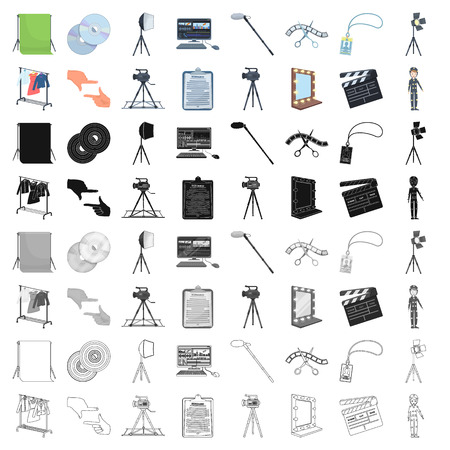 A movie camera, a floodlight, a chromakey and other equipment for the cinema.Making movie set collection icons in cartoon style vector symbol stock illustration web. Vettoriali