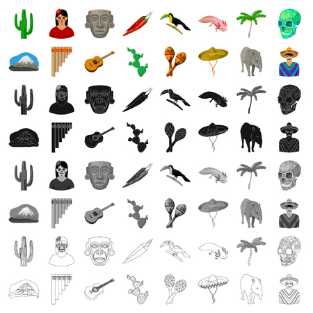 Mexico country set icons in cartoon style. Big collection of Mexico country vector symbol stock illustration