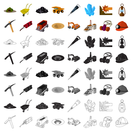 Mine set icons in cartoon style. Big collection of mine vector symbol stock illustration Illustration