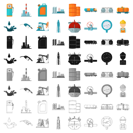 Oil industry set icons in cartoon style. Big collection of oil industry vector symbol stock illustration