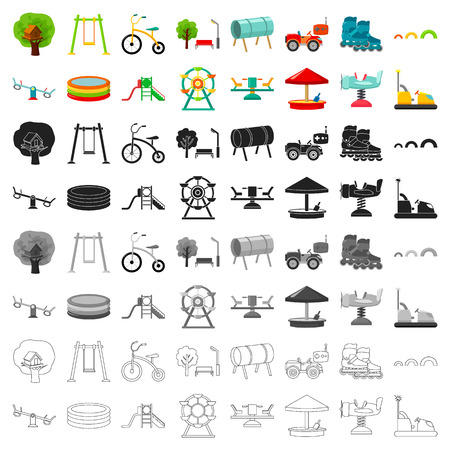 Play garden set icons in cartoon style. Big collection of play garden vector symbol stock illustration