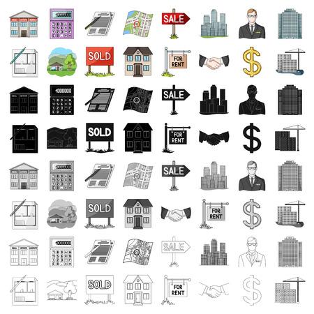 부동산 중개업자 및 기타 속성. 만화 스타일에서 컬렉션 아이콘을 설정 벡터 기호 재고 일러스트 웹입니다.