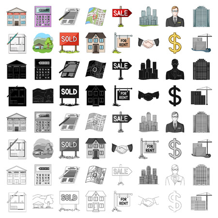 Real estate agency and other attributes. set collection icons in cartoon style vector symbol stock illustration web.