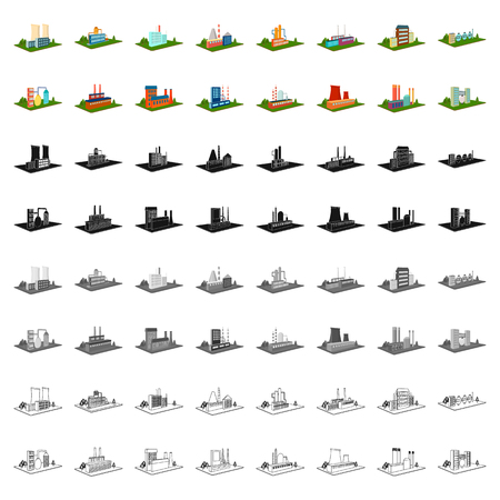 Processing factory,metallurgical plant and other production. Factory and industry set collection icons in cartoon style isometric vector symbol stock illustration web. Иллюстрация