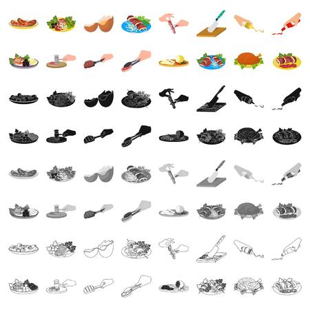 Pollo frito, chuleta de cocina, rebanar verduras, shish kebab y otros elementos de cocina. Food and Cooking establece iconos de colección en estilo de dibujos animados vector símbolo ilustración stock web.