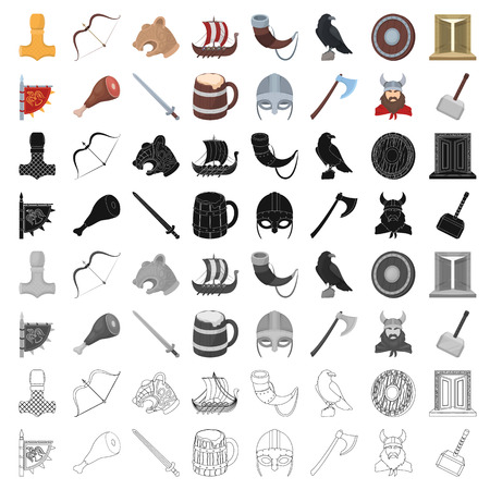 Vikings set icons in cartoon style. Big collection of vikings vector symbol stock illustration Illustration