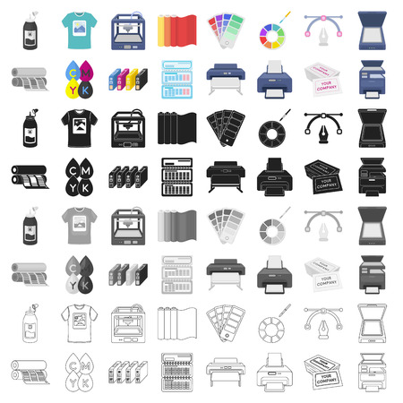 Typography set icons in cartoon style. Big collection of typography vector symbol stock illustration Векторная Иллюстрация
