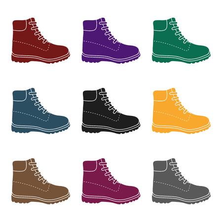 Icono de botas de senderismo en estilo negro aislado sobre fondo blanco. Zapato símbolo stock vector ilustración.