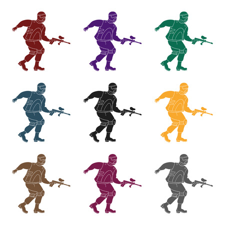paintball: Paintball player icon in black style isolated on white background. Paintball symbol stock vector illustration. Illustration