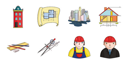 Architecture and construction icons in set collection for design. Architect and equipment vector symbol stock  illustration. Illustration