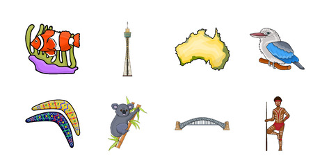 Country Australia icons in set collection for design.Travel and attractions vector symbol stock  illustration.