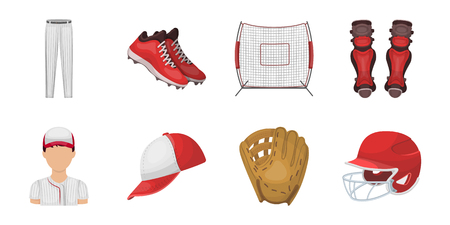 Baseball and attributes icons in set collection for design.Baseball player and equipment vector symbol stock  illustration. Illustration