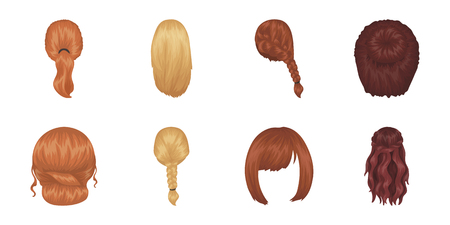 Female hairstyle icons in set collection for design. Stylish haircut vector symbol stock  illustration. Иллюстрация