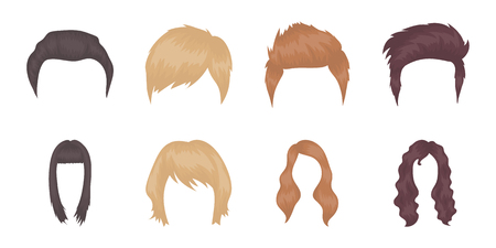 Types of hairstyles icons in set collection for design. Stylish haircut vector symbol stock web illustration.