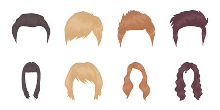 guadaña: Tipos de iconos de peinados en la colección de conjunto para el diseño. Elegante corte de pelo vector símbolo stock web ilustración.