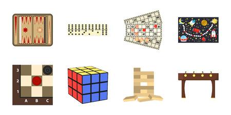 Iconos del juego de mesa en la colección de diseño. Juego y entretenimiento vector símbolo stock web ilustración. Ilustración de vector