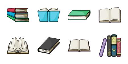 Boek in de bindende pictogrammen in set collectie voor ontwerp. Gedrukte producten vector symbool voorraad web illustratie.