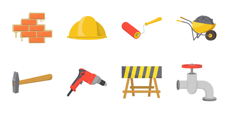 Building repair icons in set collection for design. Building material and tools vector symbol stock web illustration.
