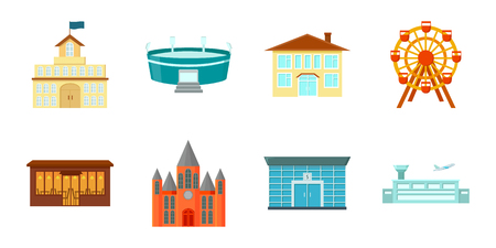 Building and architecture icons in set collection for design. Construction and Institution vector symbol stock web illustration.