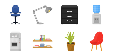 Interior of the workplace icons in set collection for design. Office furniture vector symbol stock web illustration. Illustration