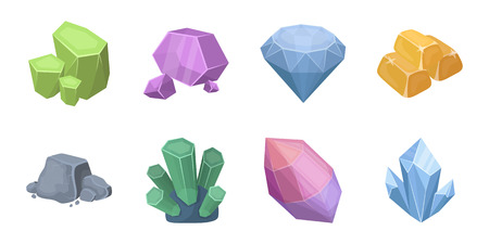 granite: Precious mineral icons in set collection for design. Jewelry and tools vector symbol stock  illustration. Illustration