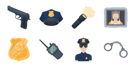 Politie, Afdelingspictogrammen in vastgestelde inzameling voor ontwerp. Detective en de voorraadillustratie van het toebehoren vectorsymbool. Stock Illustratie