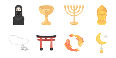 orthodoxy: Religion and belief icons in set collection for design. Accessories, prayer vector symbol stock  illustration.