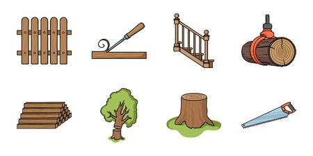 ladder  fence: Sawmill and Timber icons in set collection for design. Hardware and Tools vector symbol stock web illustration. Illustration