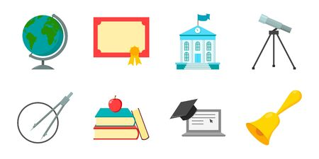 School and education icons in set collection for design.College, equipment and accessories vector symbol stock web illustration.