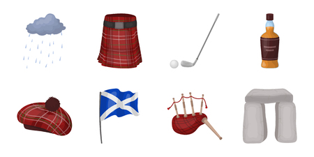 bagpipe: Country Scotland icons in set collection for design. Sightseeing, culture and tradition vector symbol stock web illustration.