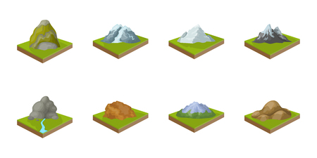 Mountains, massive icons in set collection for design. The surface of the earth vector isometric symbol stock web illustration.