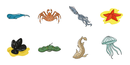 A variety of marine animals icons in set collection for design. Fish and shellfish vector symbol stock  illustration. Ilustração