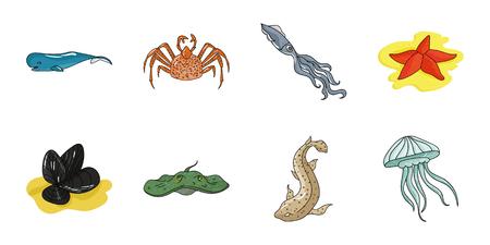 Una variedad de iconos de animales marinos en la colección de conjunto para el diseño. Pescado y marisco vector el ejemplo común del símbolo.