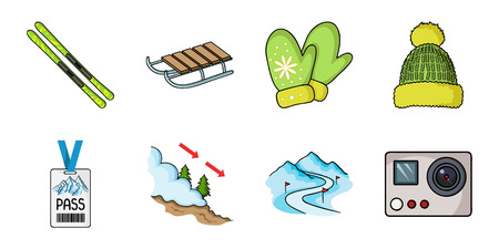 Ski resort and equipment icons in set collection for design. Entertainment and recreation vector symbol stock  illustration. Çizim